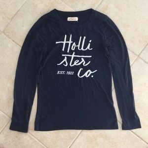 Hollister Navy Logo Long-Sleeve Tee